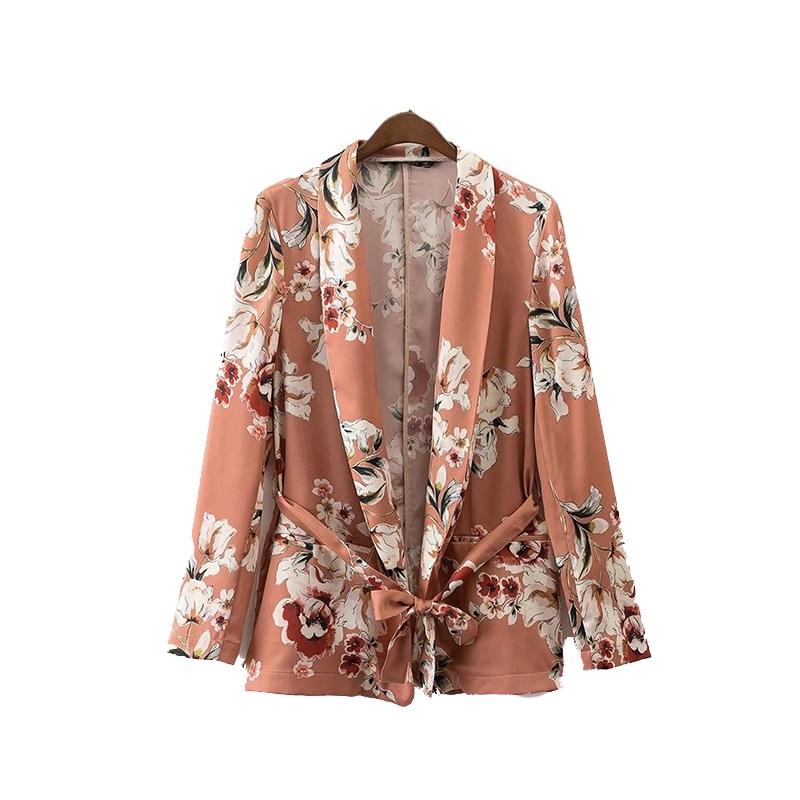 Béžová bunda v retro kvety, viazanie voľné XL