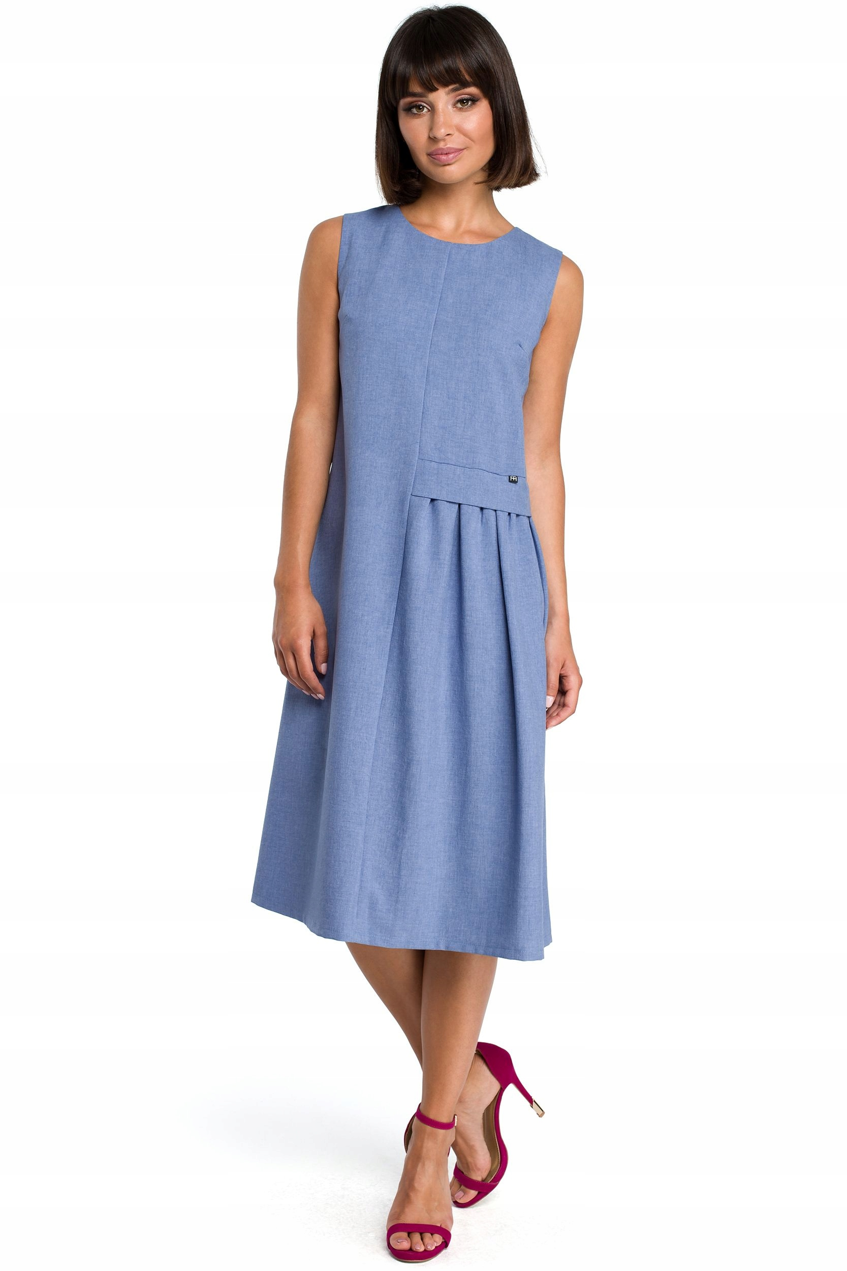 B080 Zwiewna sukienka midi bez rękawów - niebieska
