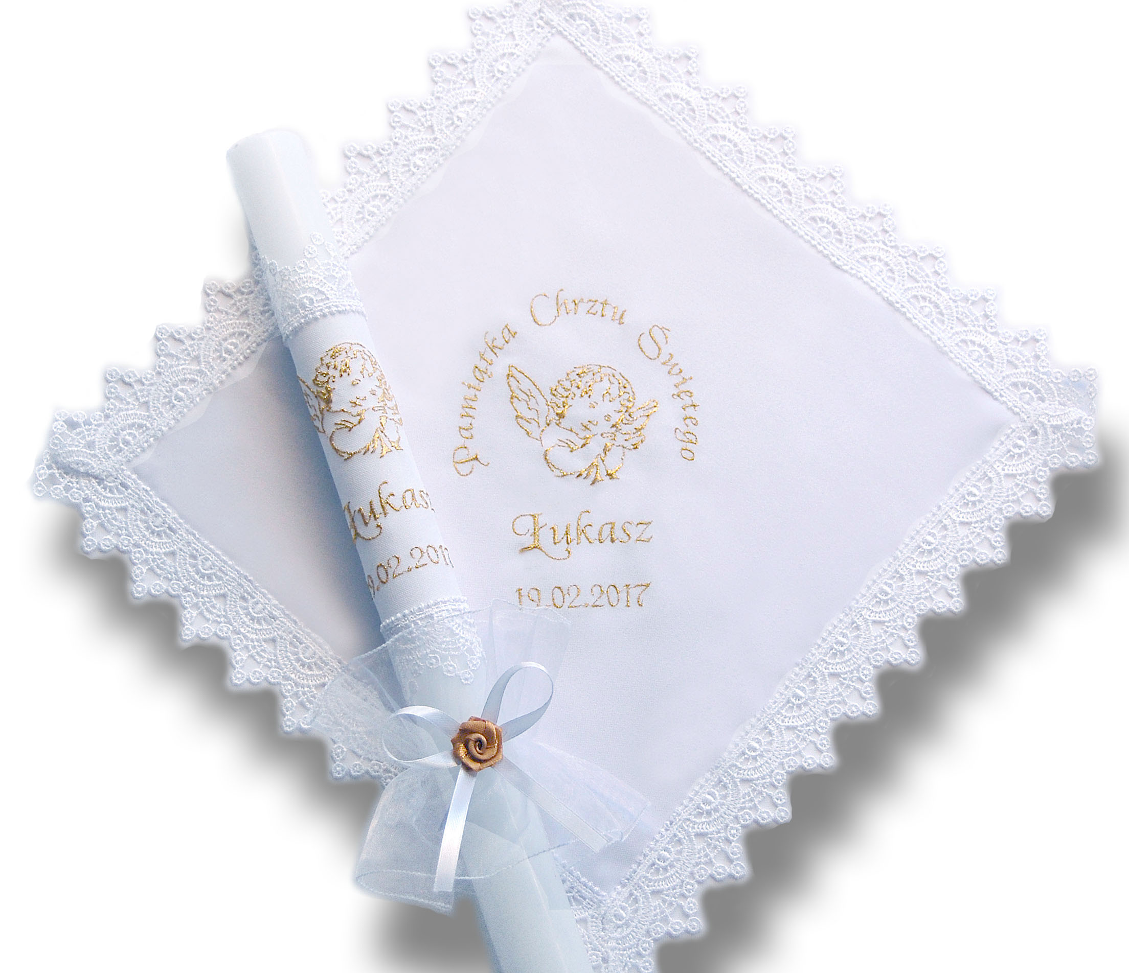 Item SZATKA and CANDLE FOR BAPTISM embroidery, name+date