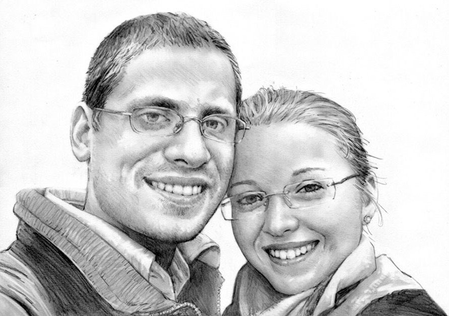 Item DOUBLE portrait to order with photograph A3