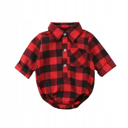Koszulobody červená mriežky tričko kombinézu 80 86 92