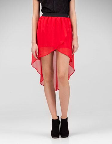 STRADIVARIUS asymetryczna czerwona spódnica L
