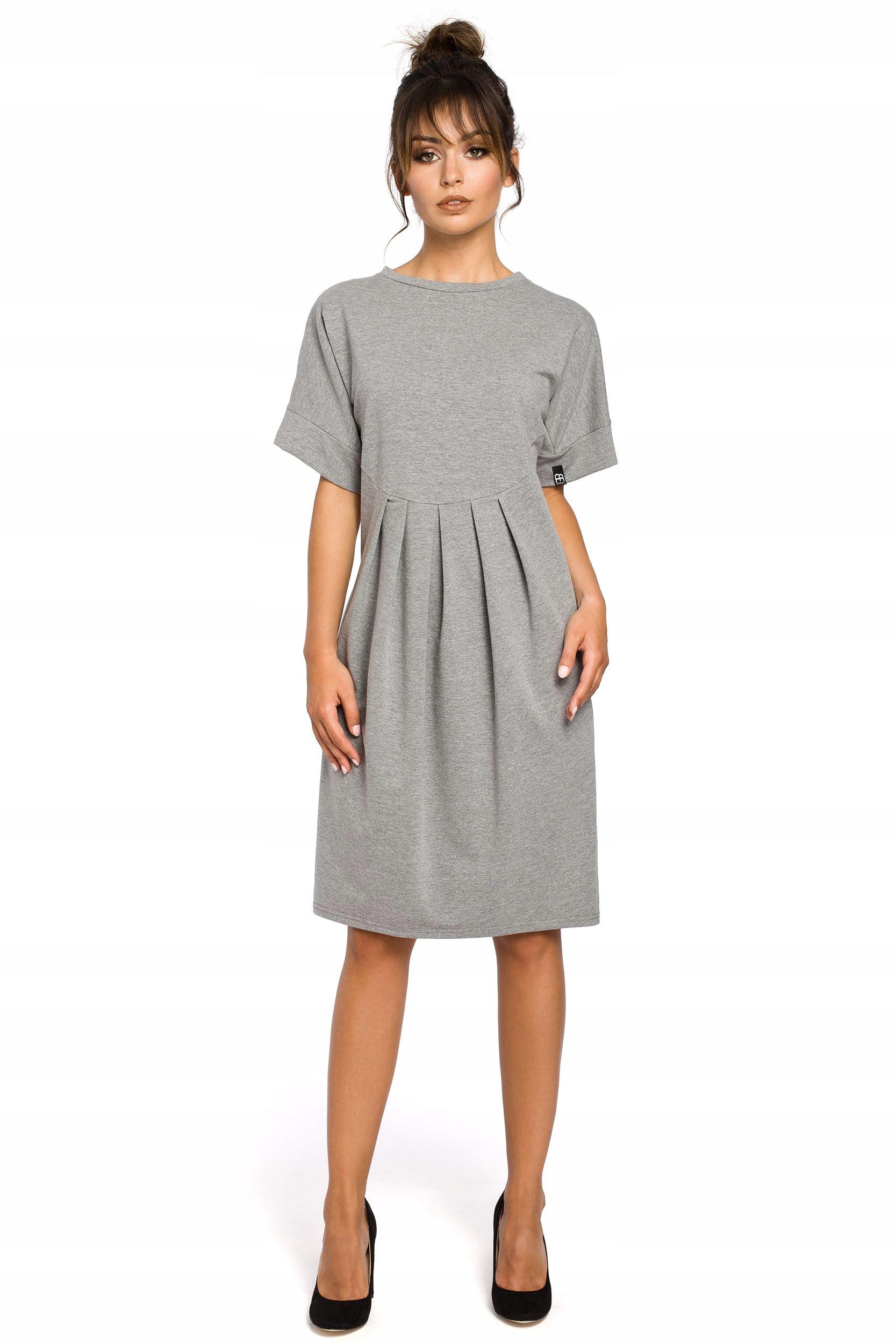b19842205e B045 Sukienka z zakładkami - szara S M 7607717716 - Allegro.pl