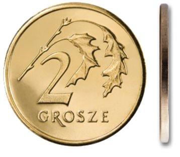 Чеканка 2 грошей 2000 года в мешочке