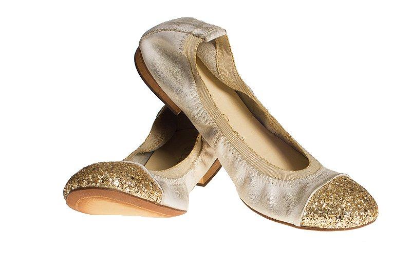 Balerinki Skórzane LaFEMME Złoty Brokat 0760 r- 36