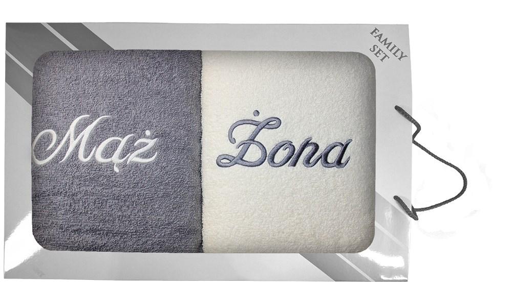 Комплект полотенец в коробке 2 шт, 70x140 Муж Жена