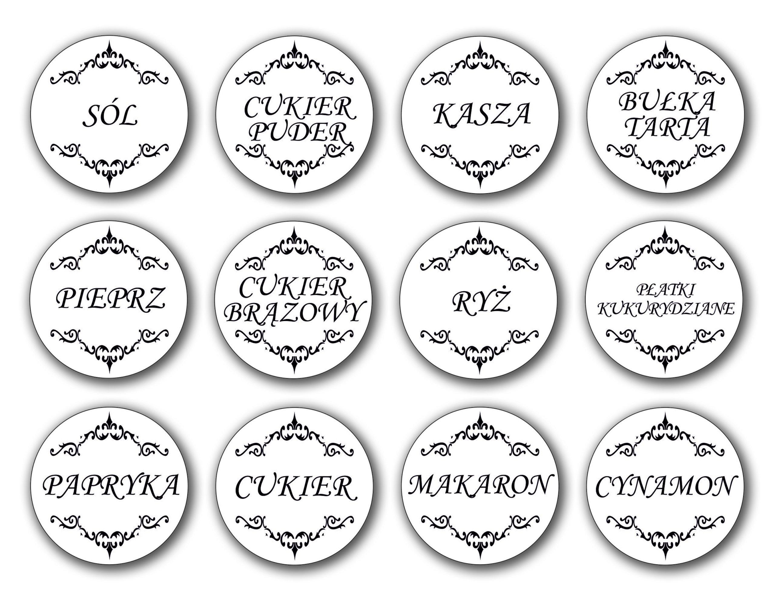 Naklejki Etykiety Na Przyprawy Pojemniki Promocja 6354100235