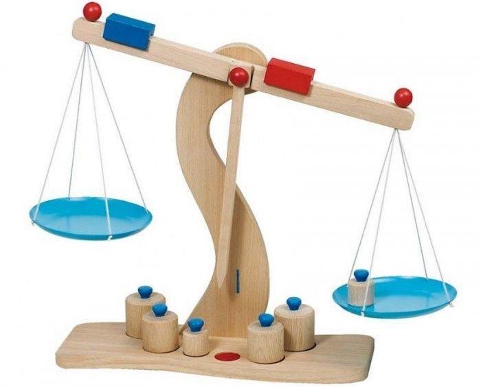 Drewniana Waga Sklepowa dla dzieci szalkowa