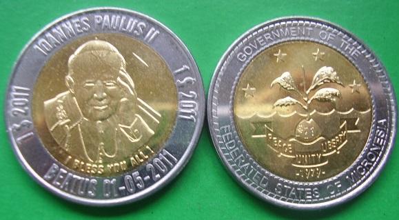 MIKRONEZJA 1$ 2011 JAN PAWEŁ II bimetal