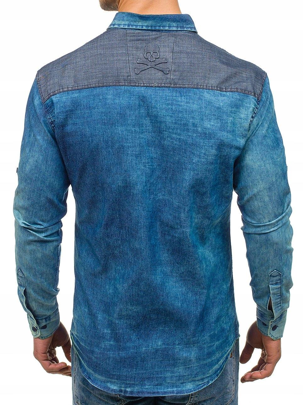 Koszula męska jeansowa we wzory z długim rękawem niebieska