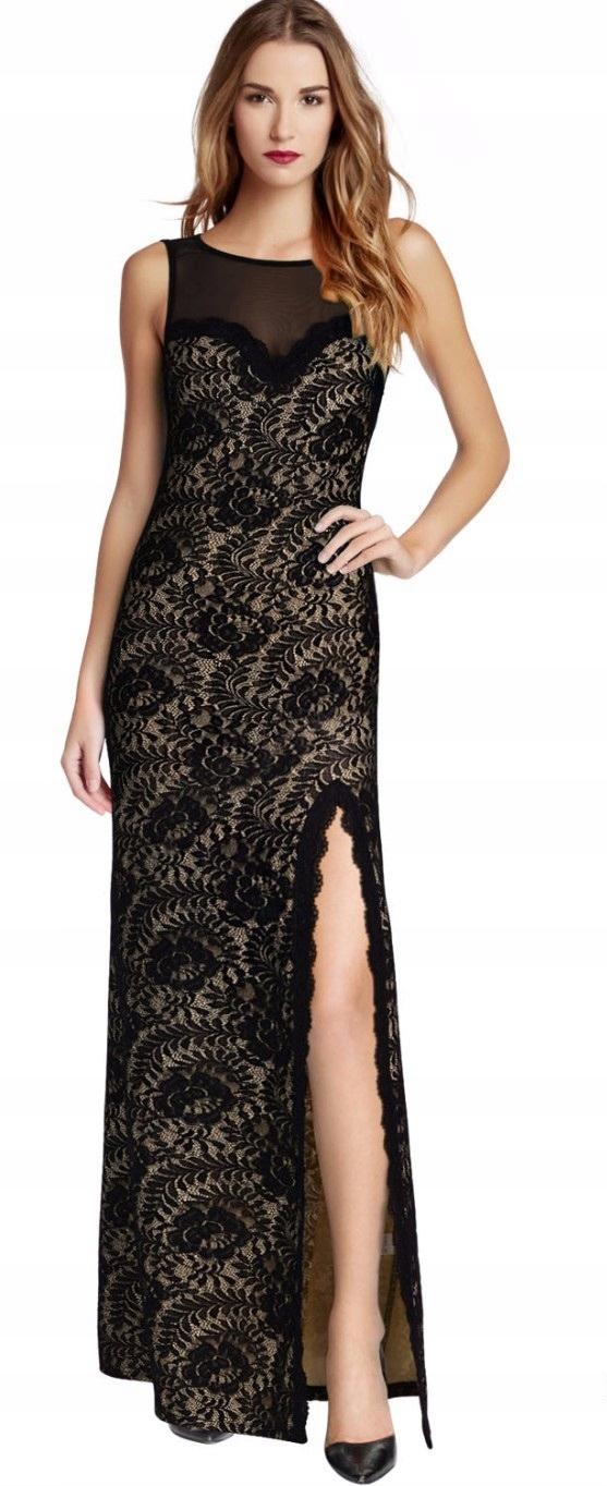 9c719b6031 Sukienka długa koronkowa studniówka plecy XL 42 7644707229 - Allegro.pl