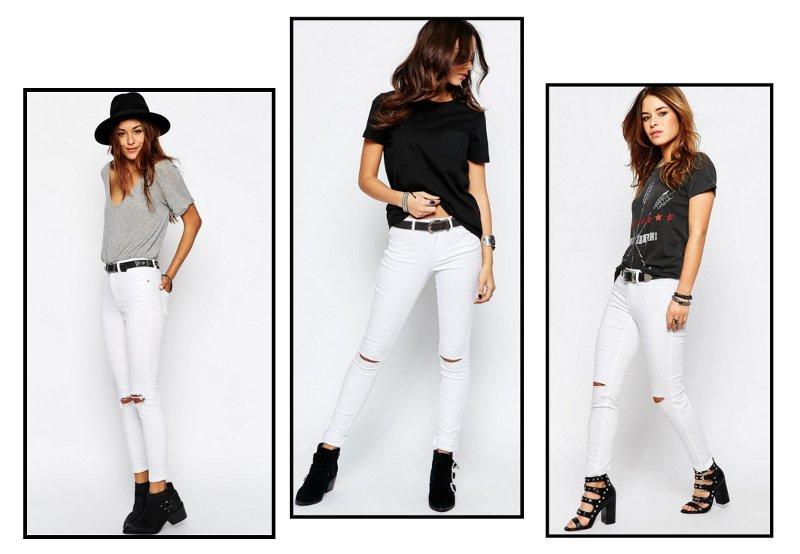 Spodnie RURKI Z DZIURAMI SLIM Dziury White Jeans S 9080111850 HGVWOuYH