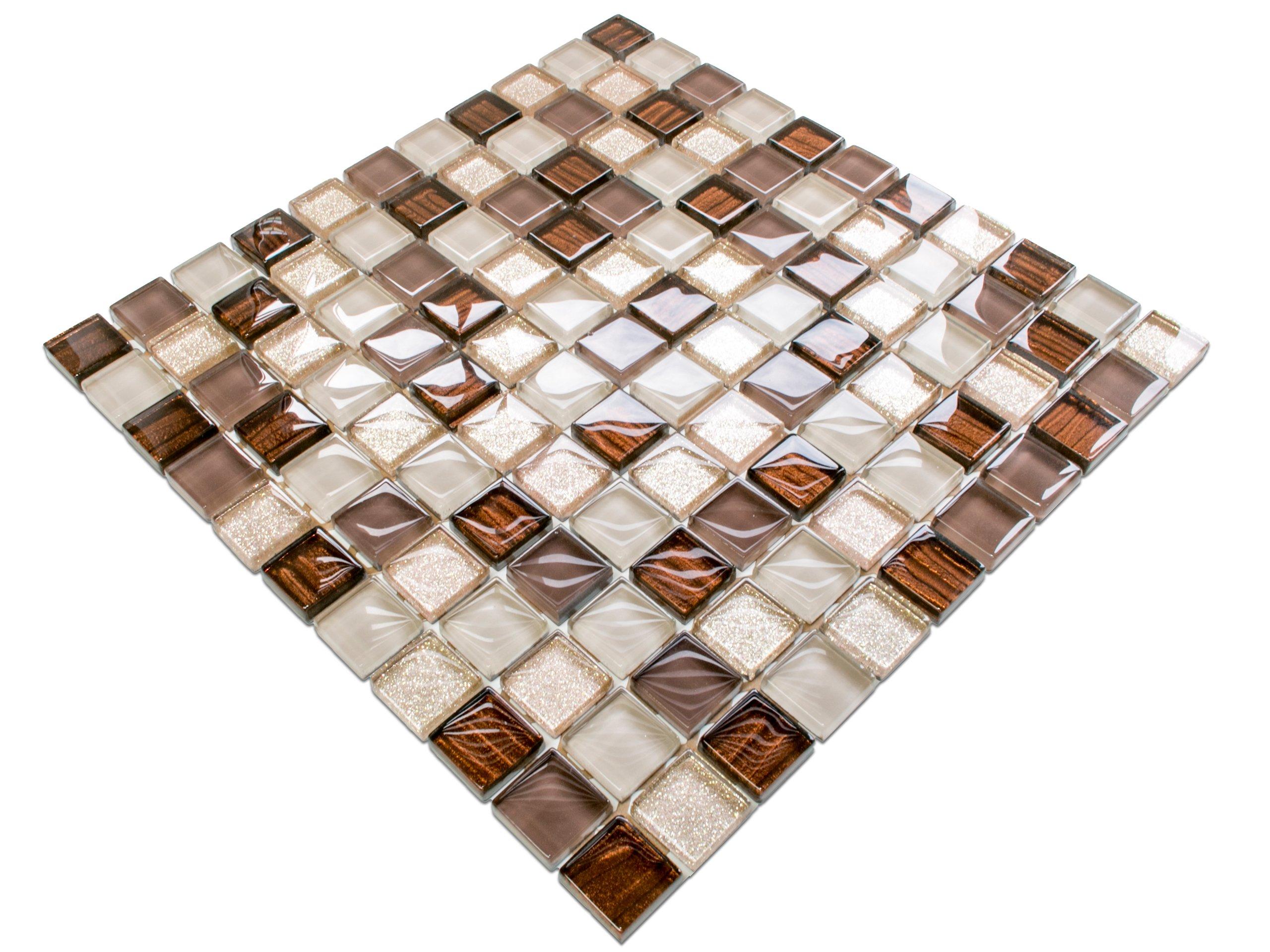 Mozaika Szklana Brązowa Beżowa Złota 30x30 Listwa