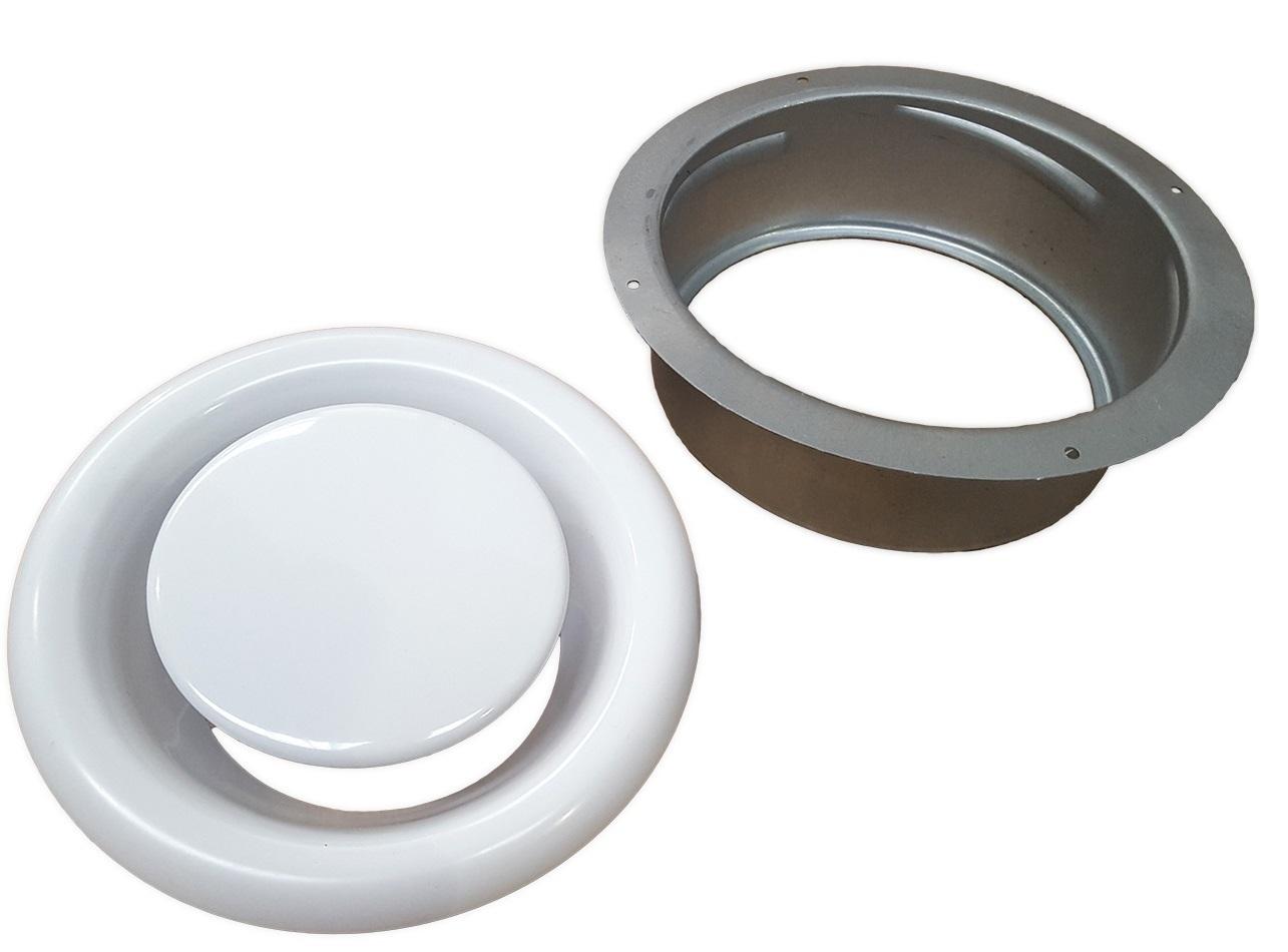 ANEMOSTAT metalowy WYCIĄGOWY kratka 125 mm + RAMKA