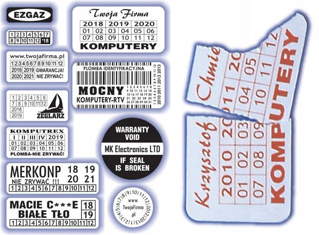 15x10 Plomby gwarancyjne stickery Kruche - ArtComp