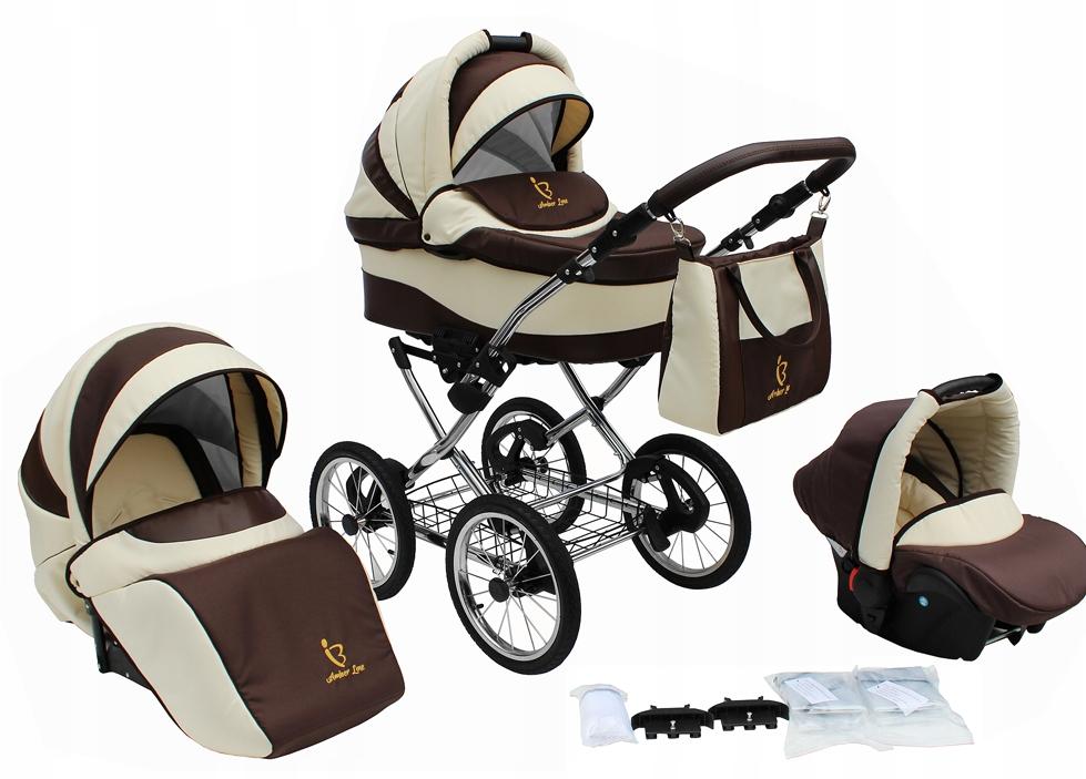 Detský vozík 3v1 retro hlboké kráčajúce kreslo