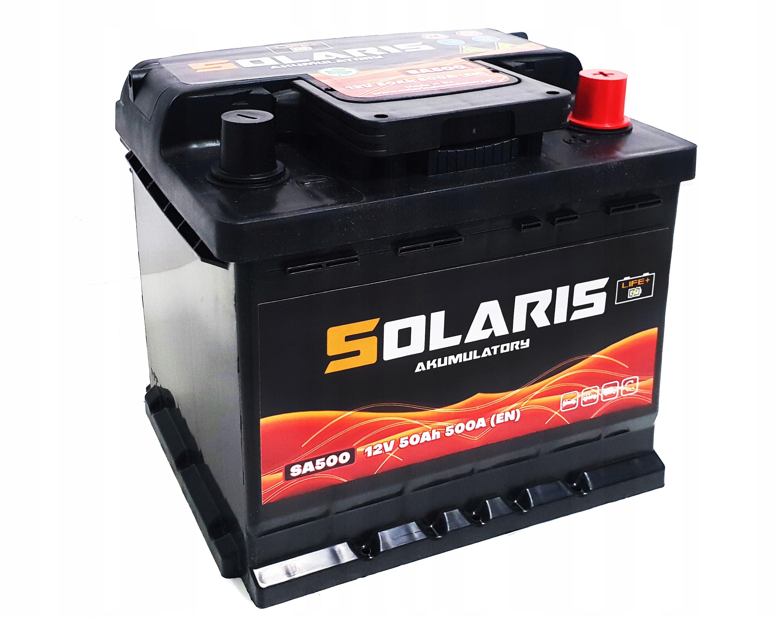 аккумулятор solaris 50ah 500a они 50 500