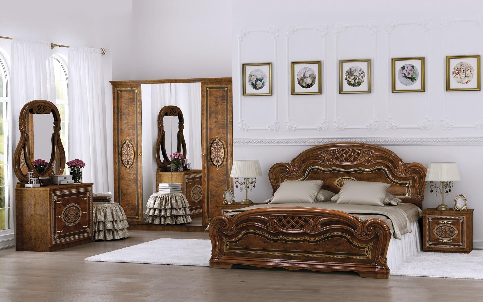 Спальня LARA Орех СО ШКАФОМ 4Д кровать 160х200