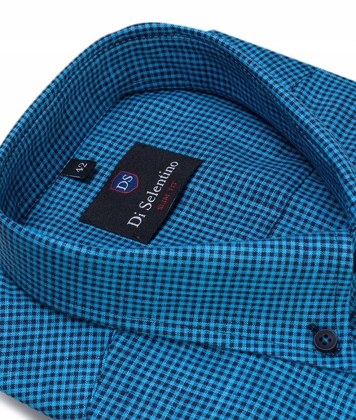 Koszula Męska Casual Kratka Turkusowa Slim LXL 7683060187  jc42R