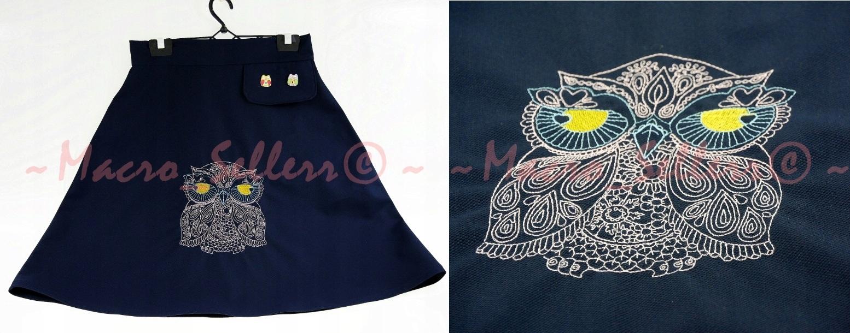 Dizajnová, vyšívaná, prelamovaná retro sukňa sovy