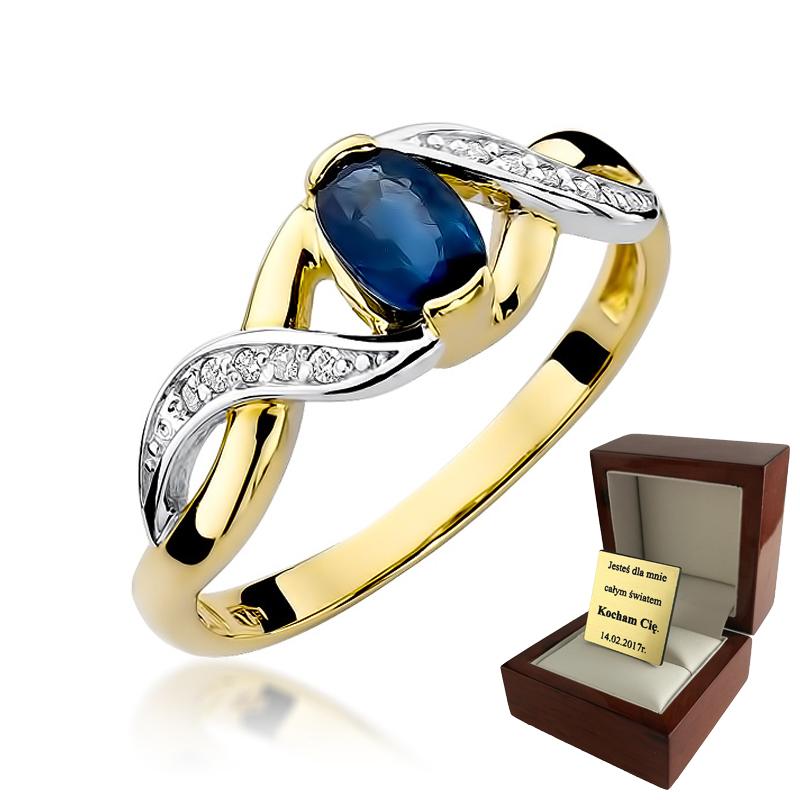 Złoty Pierścionek Zaręczynowy Szafir i Brylanty