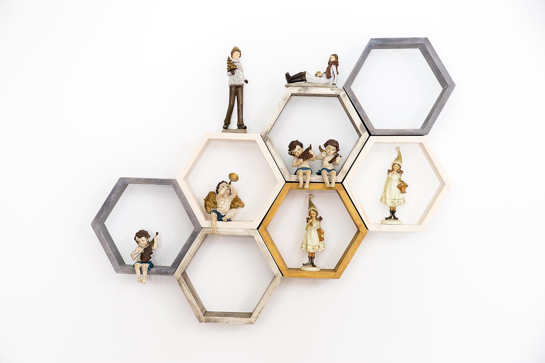 +nastavenie políc z dreva hexagon dekorácie+