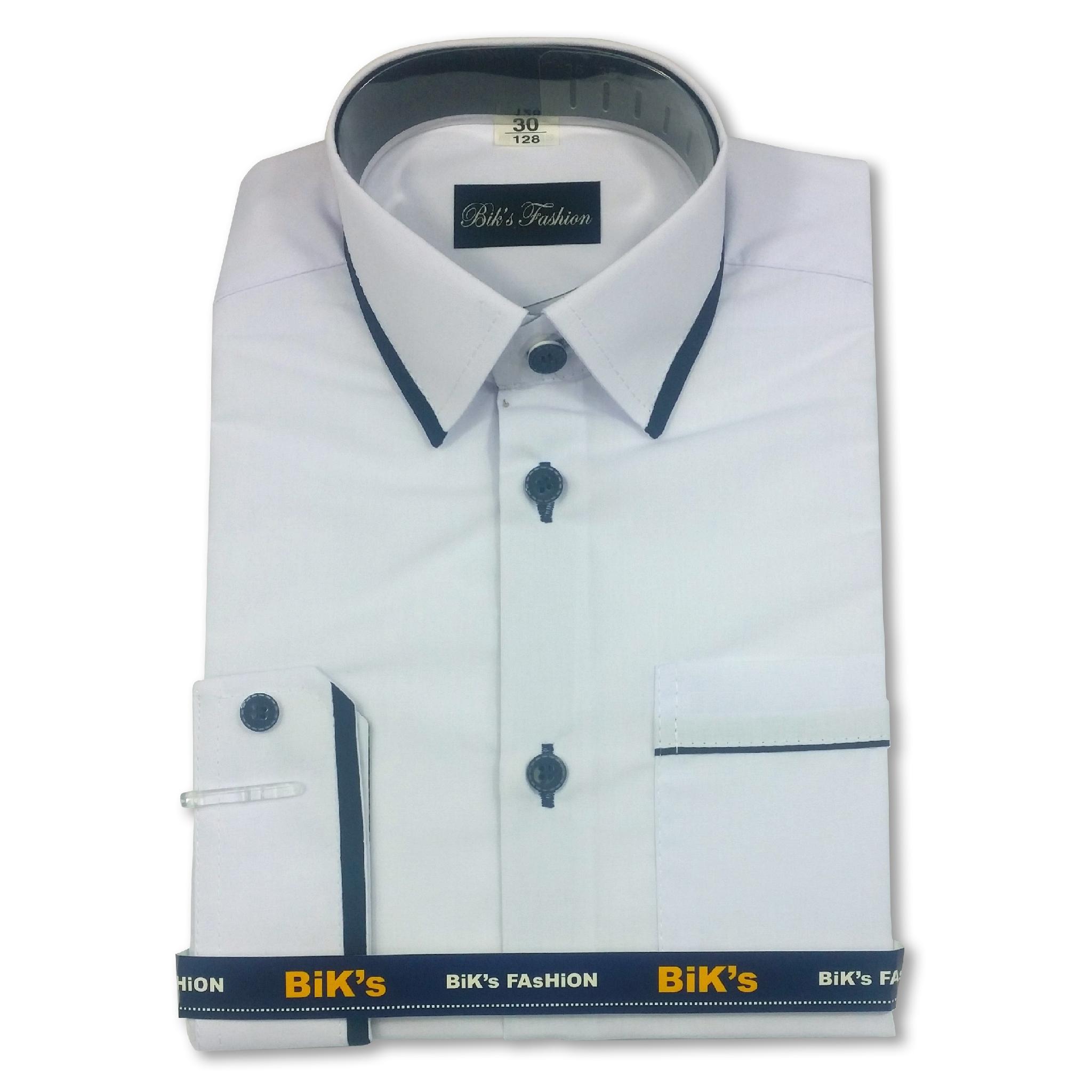 Elegantné biele tričko pre chlapcov, rukáv dĺžka 176/182