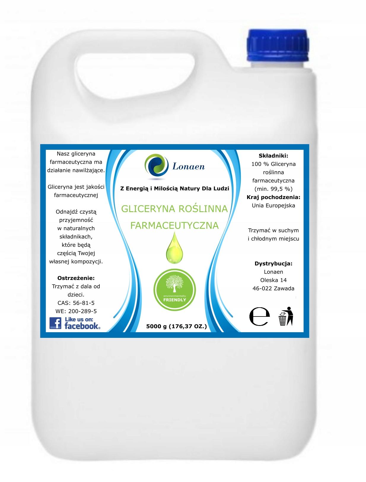Gliceryna Roślinna Farmaceutyczna CZYSTA 5KG 99 5%