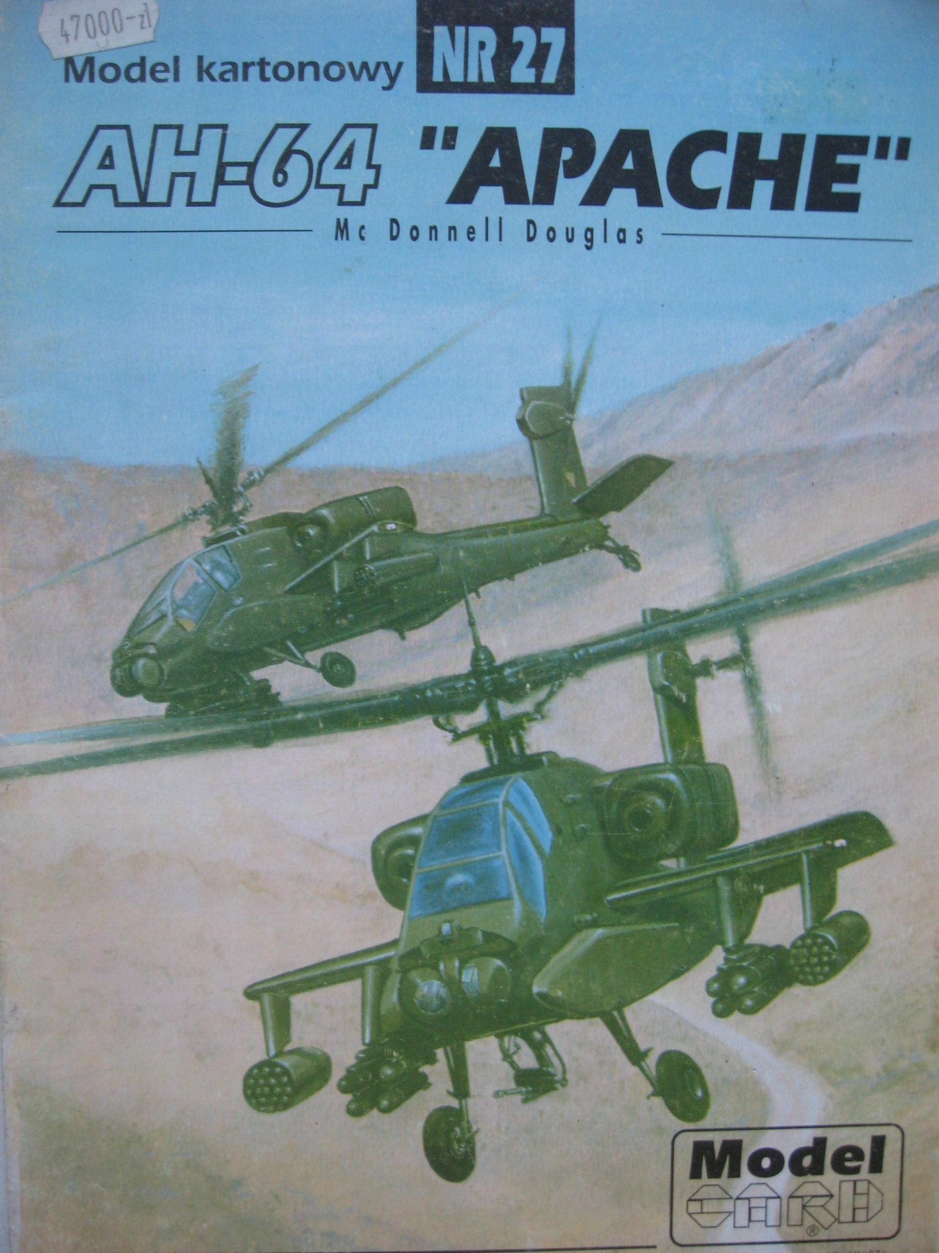 Modelová karta 27 Combat Helicopter AH-64 Apache