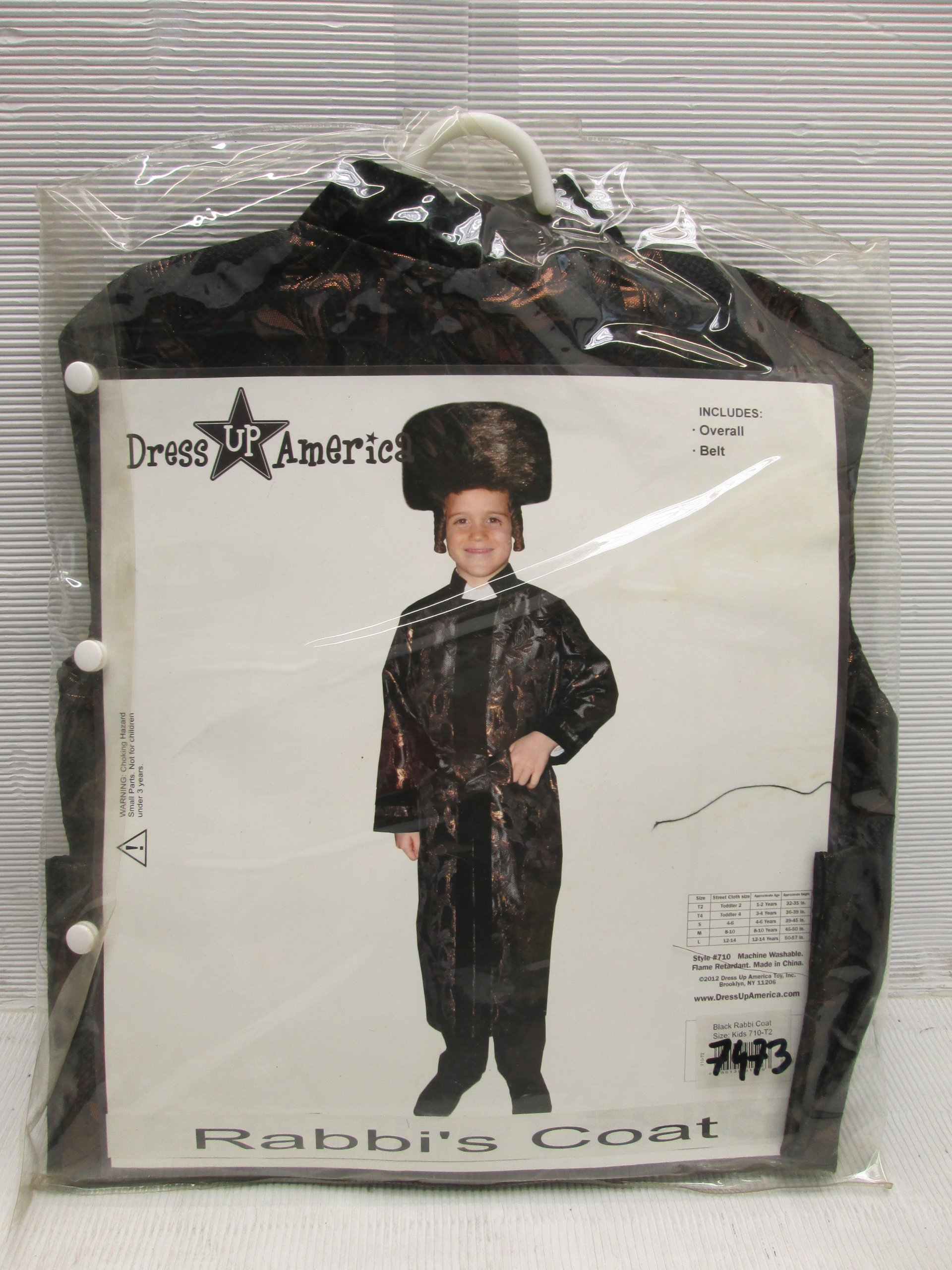 Kid's Black Rabbi Coat By Dress Up America