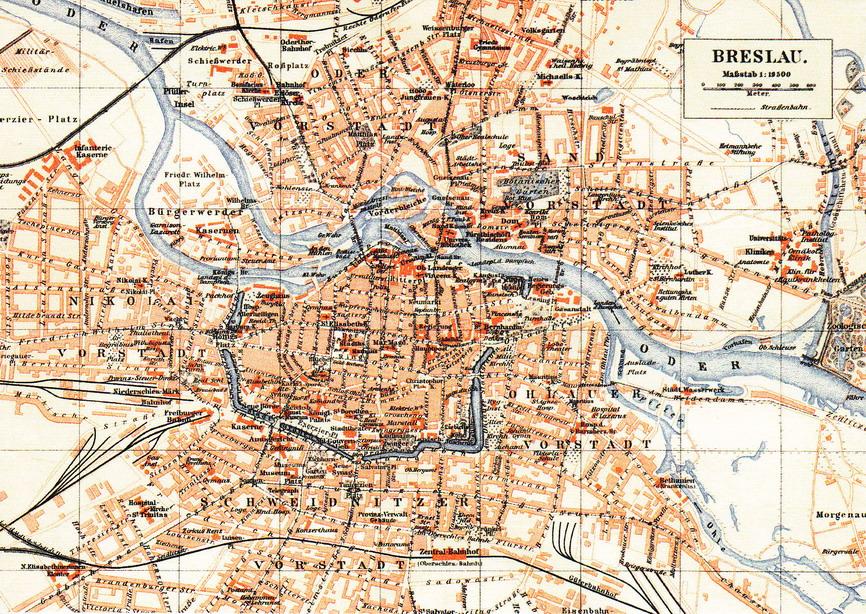 BRESLAU - WROCŁAW - OK. 1900 ROKU - MAPKA