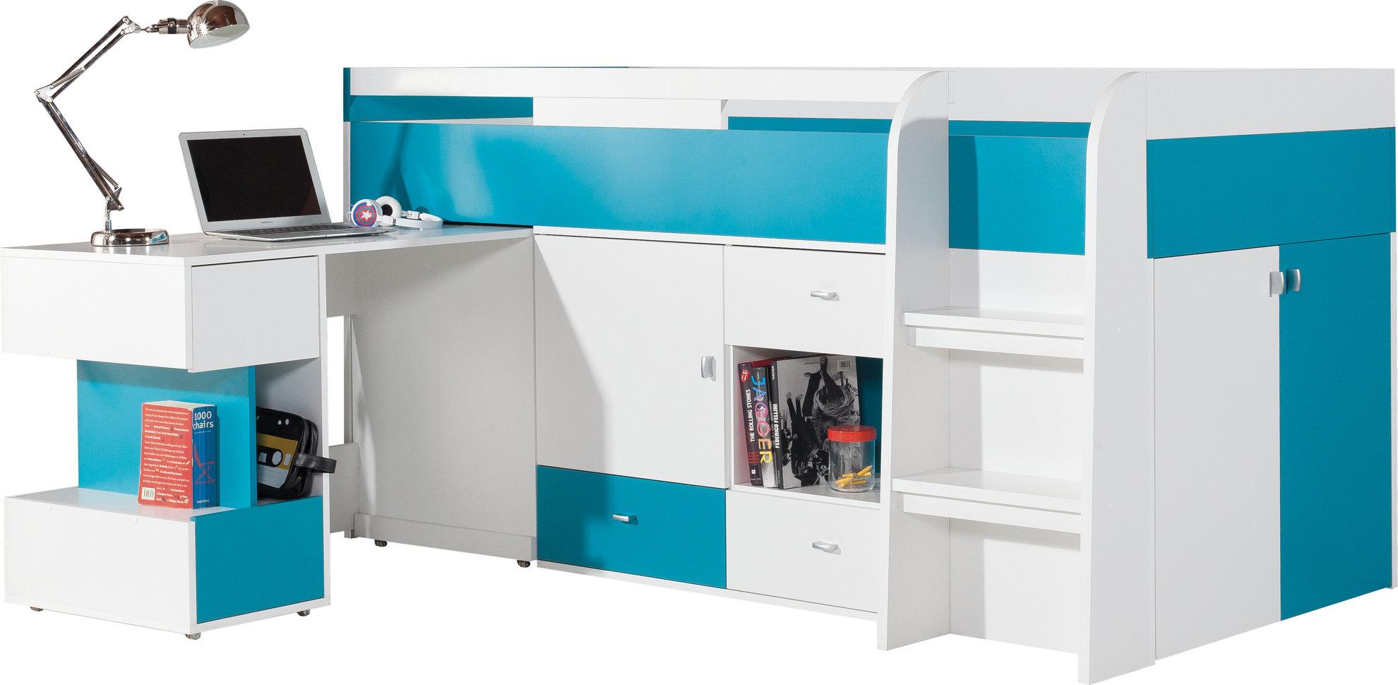 Łóżko piętrowe Mobi z biurkiem  MO21 z materacem