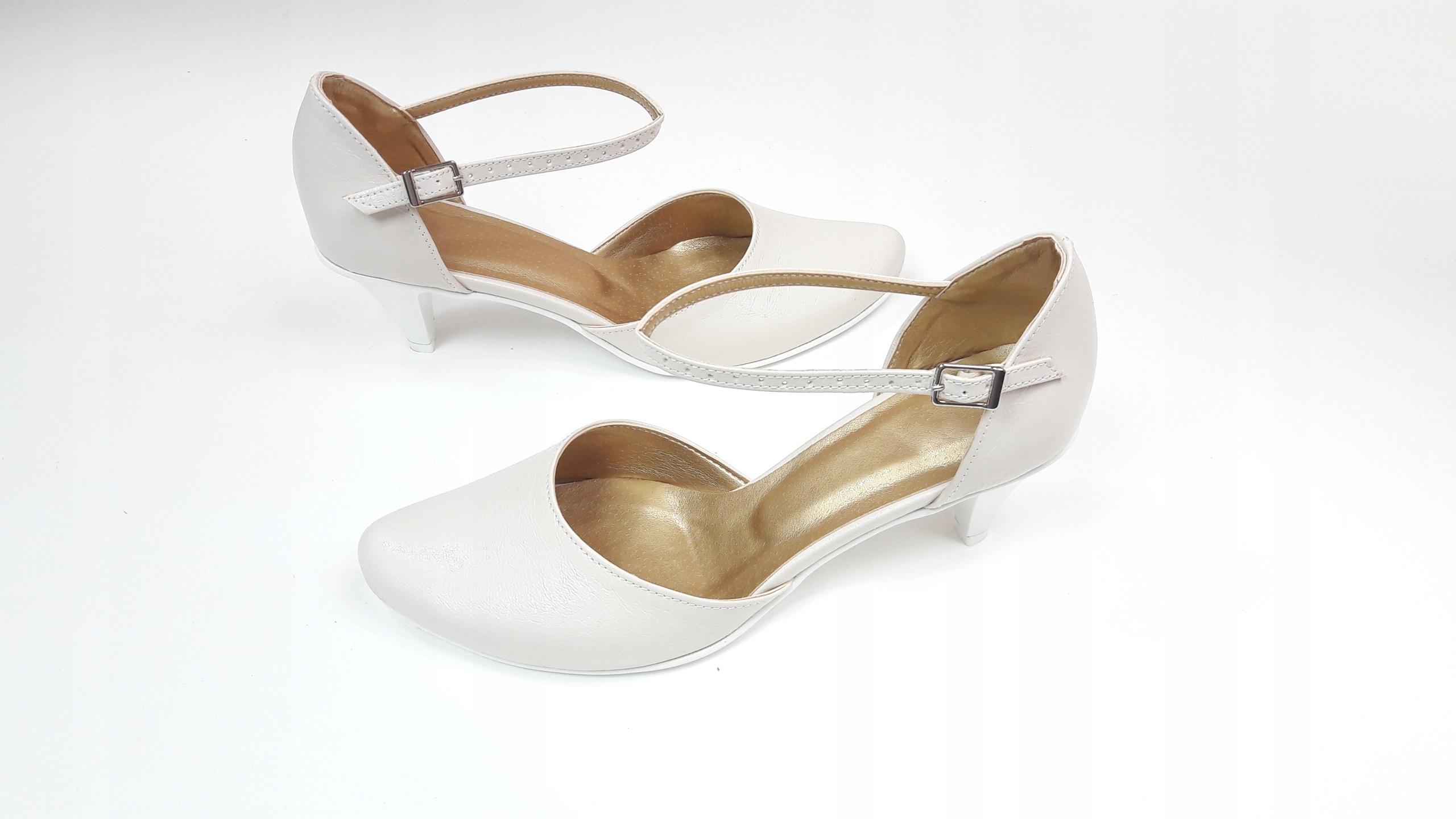 a3fa145a buty damskie obuwie ślubne śmietanka 38 CASANI 6944230941 - Allegro.pl