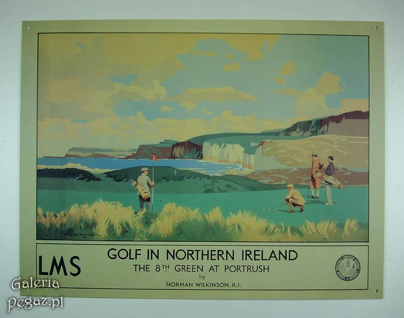 Severné Írsko Golf resort tin retro plagátu