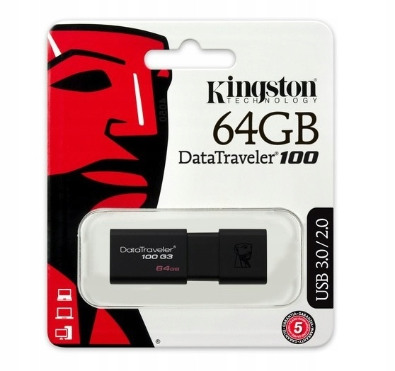 KINGSTON PENDRIVE PAMIĘĆ DT100 G3 USB 3 0 64 GB