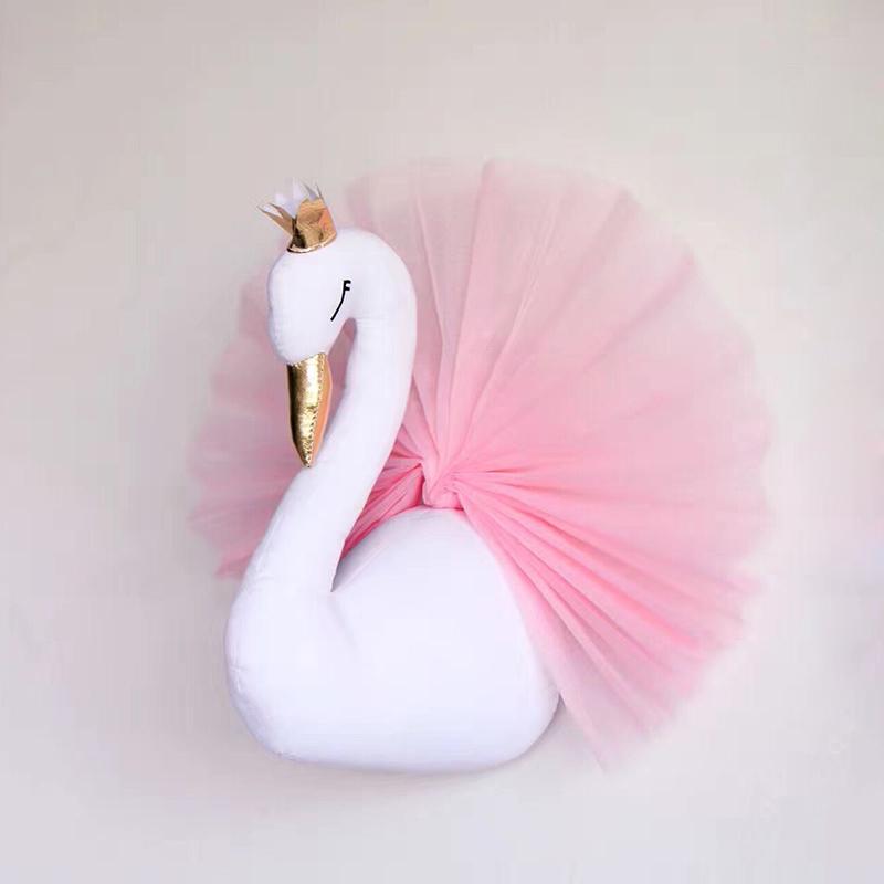 plyšové Swan dekorácie na stenu v detskej izbe