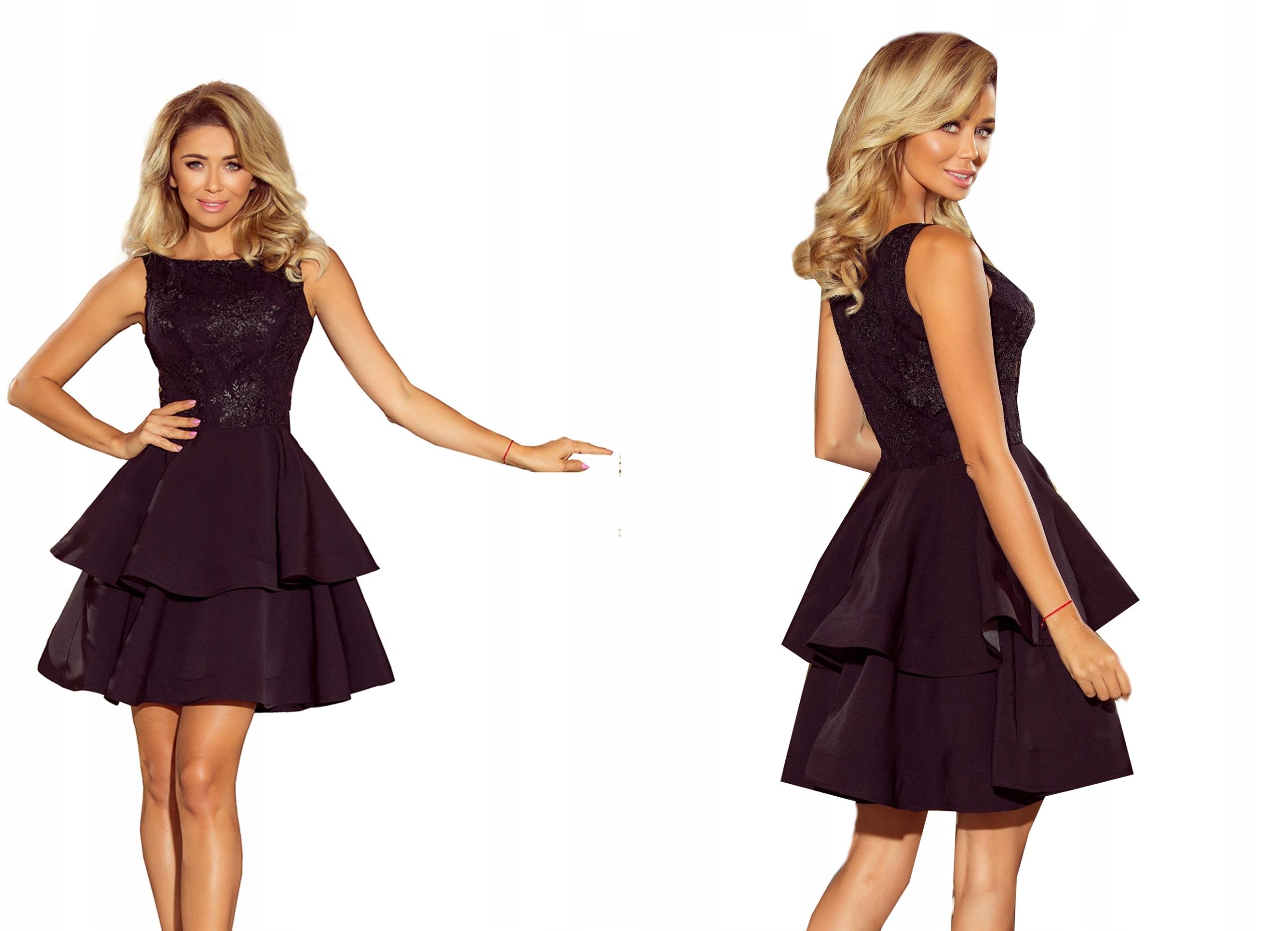 Czarna Sukienka Mini Weselna Rozkloszowana 206-2 M