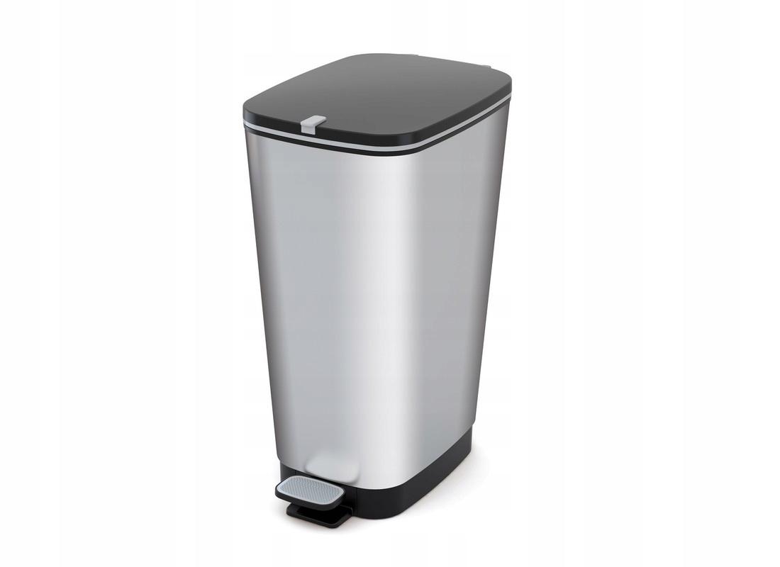 Корзина для мусора с педалью Chic L серебро KIS - 60 Л