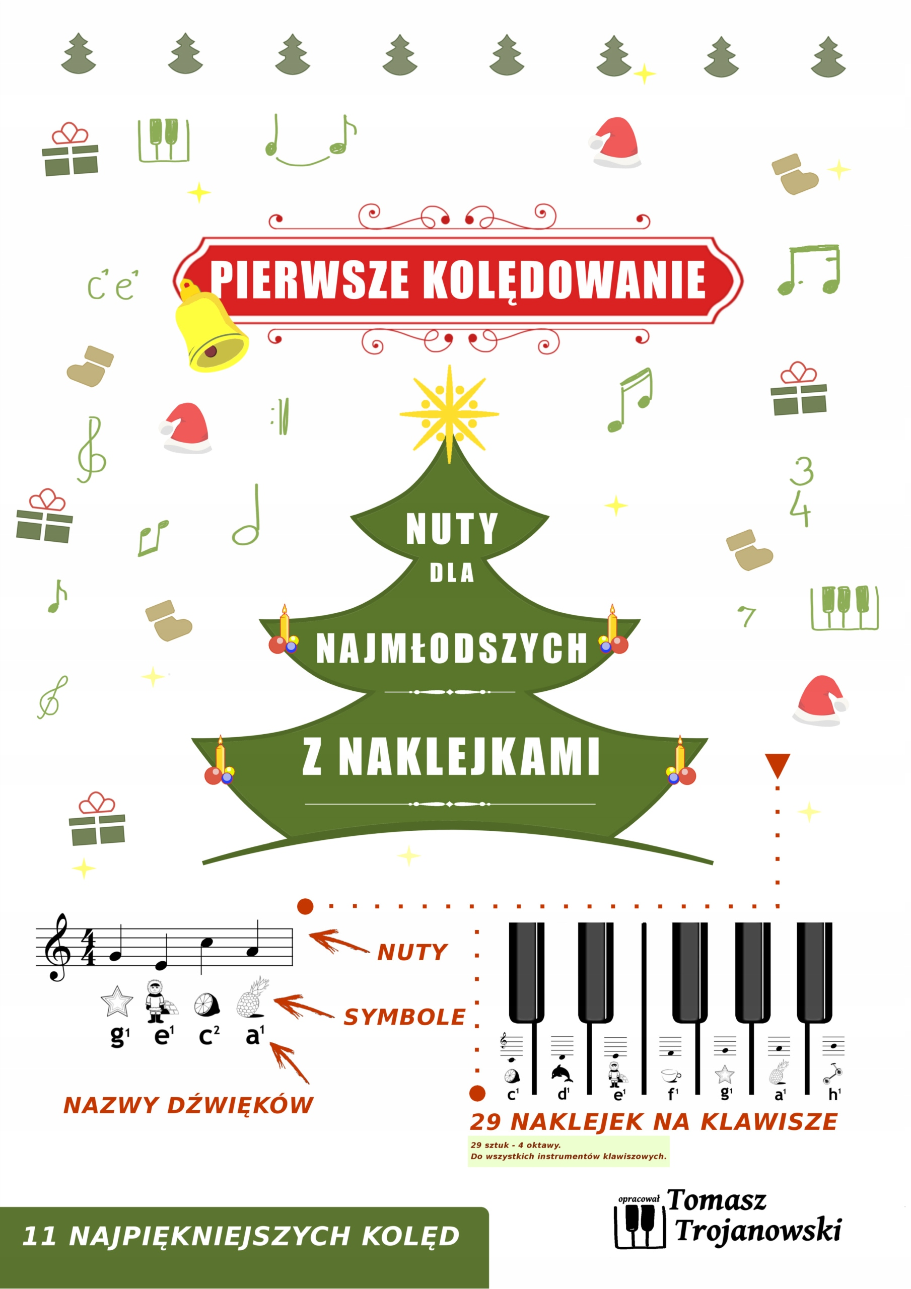 Item Christmas carols for children. Notes and stickers on the keys