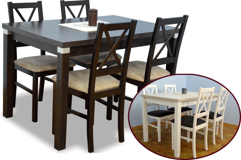 80/150 DREVENÝ Stôl a 4 stoličky, nastavený pre kuchyňa