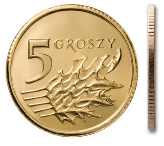 Чеканка 5 грошей 2004 г. с мешком