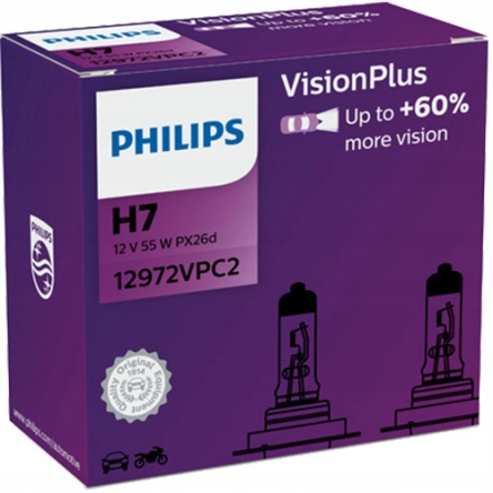 ЛАМПЫ PHILIPS H7 VISION PLUS + 60% 12 В 55 Вт 2 ШТ.