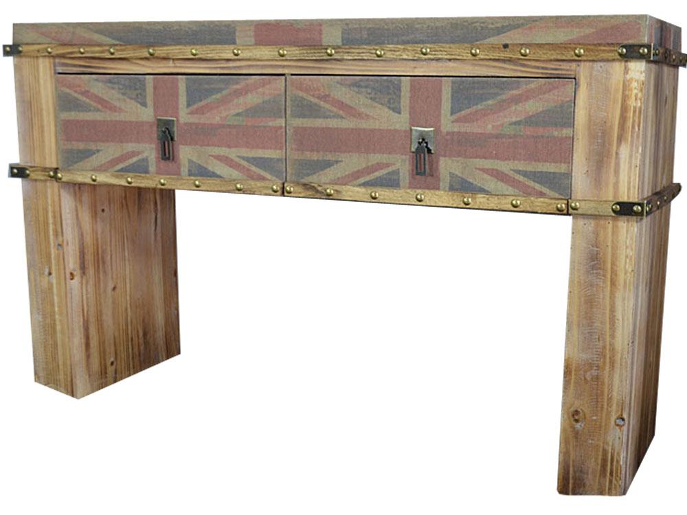 Stylowe biurko loft z flagą uk antyki24