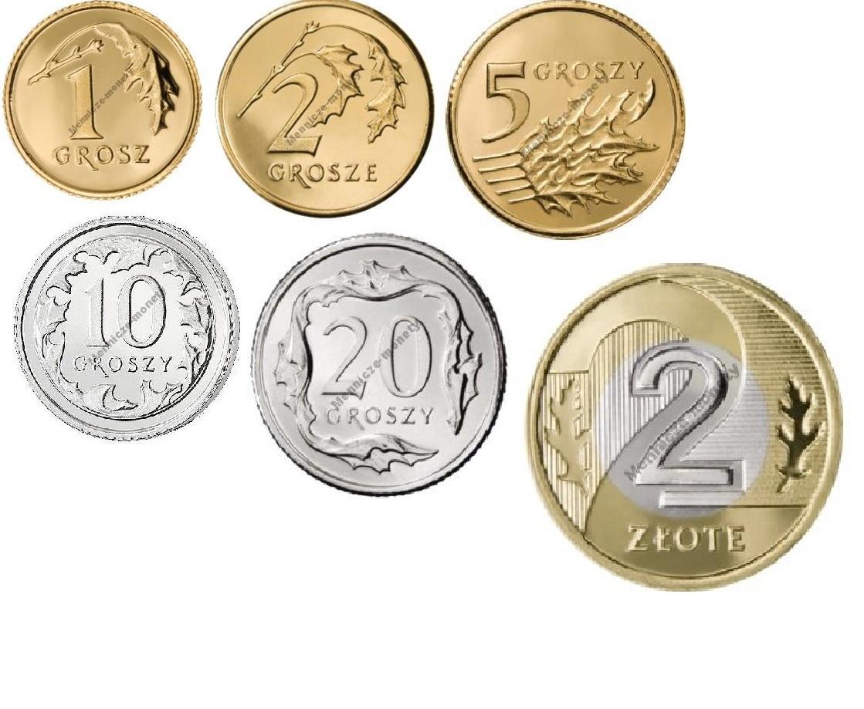 1,2,5,10,20 gr 2 злотых 2007 год, набор из 6 монет