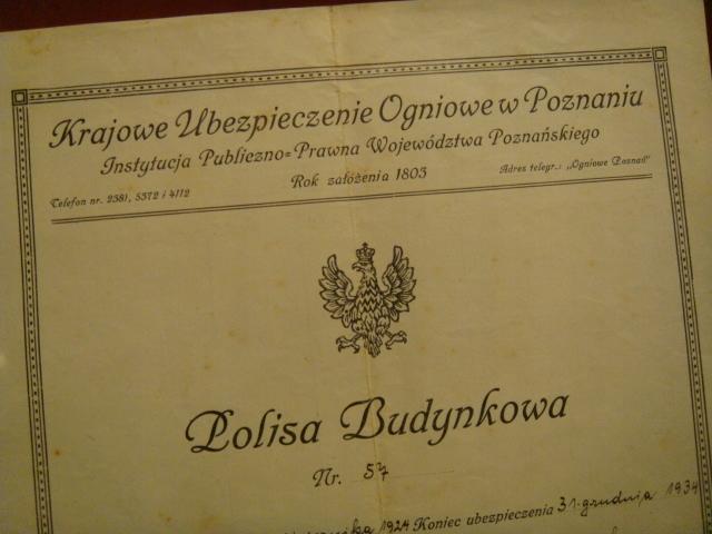 POLISA 1934 r.- Krajowe Ubezpiecz. Ogn. w Poznaniu