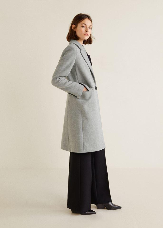 zara luksusowy płaszcz wełniany szary kratka