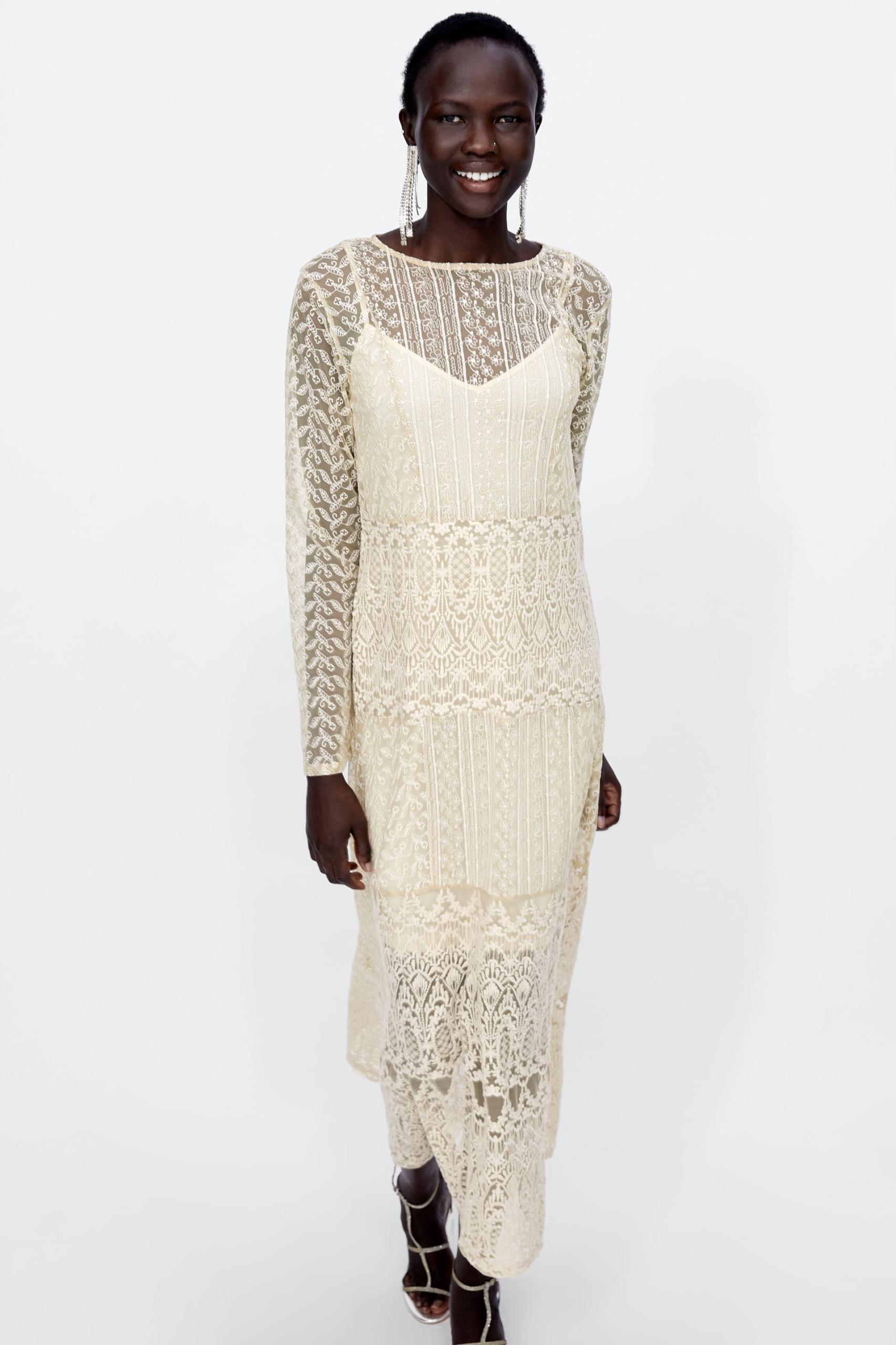 2402d38065 Luksusowa Sukienka Maxi z Koronki - Zara S - 7628262122 - oficjalne ...
