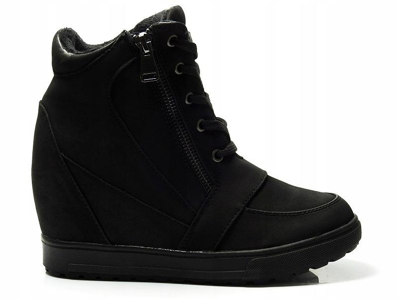 Sneakersy BOTKI buty koturn PIKOWANE czarne 41
