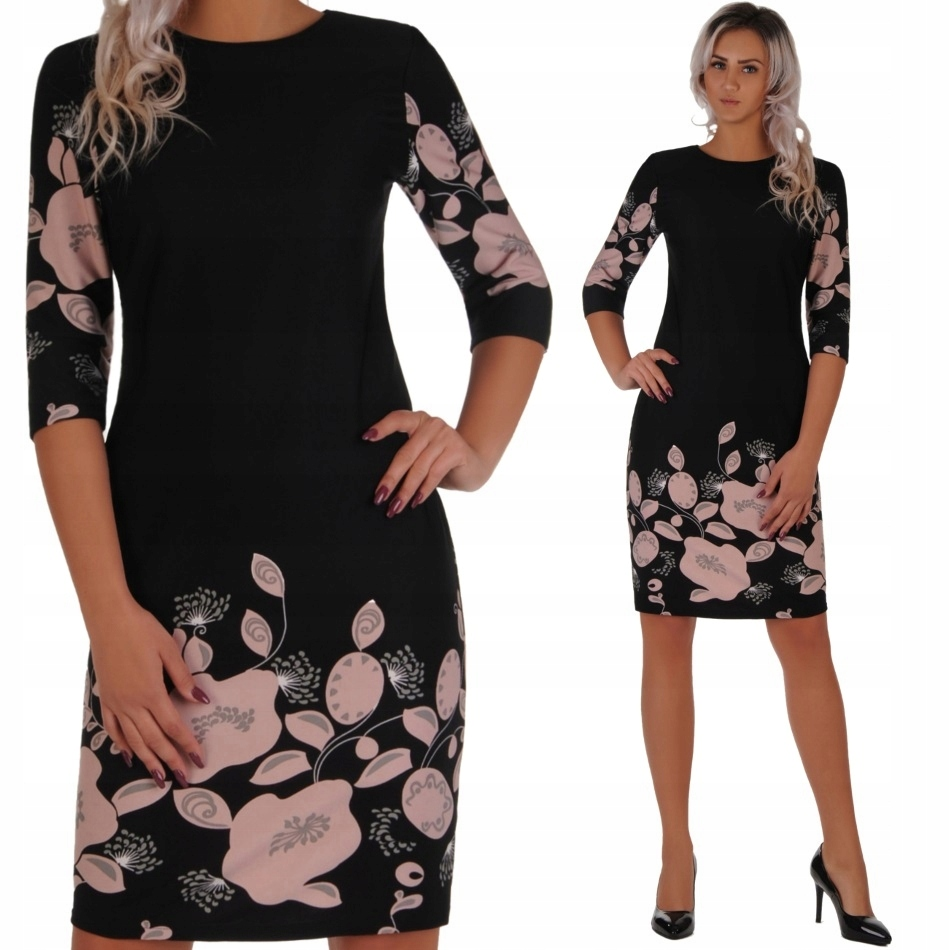 c979b56729 N41 Elegancka czarna sukienka w KWIATY (42-50) R50 - 7564062227 ...