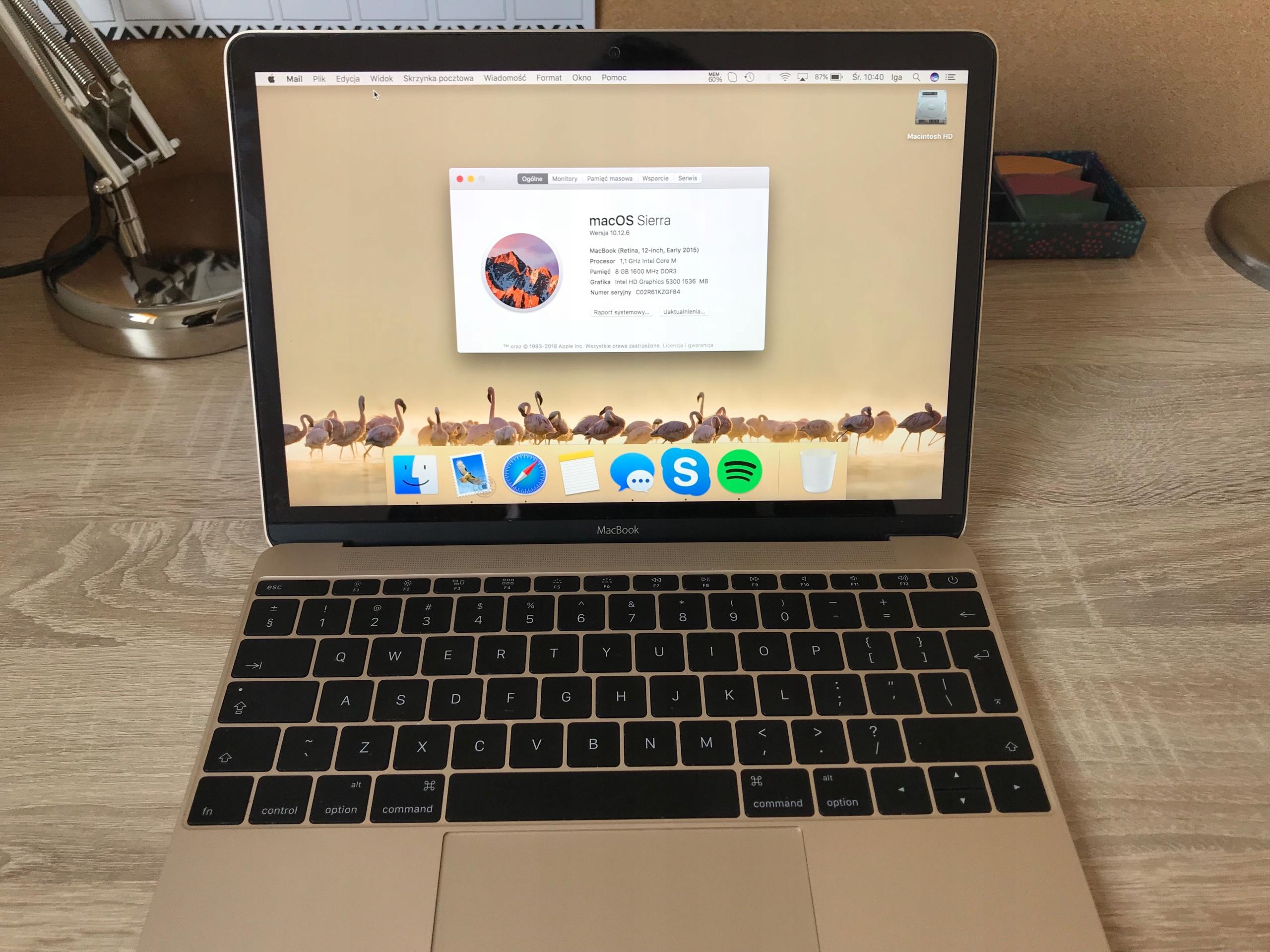 Apple MacBook 12'' intel M 8GB 256GB SSD GOLD